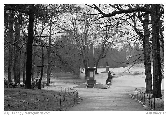 North Bridge, site of the Battle of Concord, Minute Man National Historical Park. Massachussets, USA (black and white)