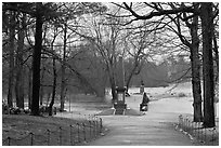 North Bridge, site of the Battle of Concord, Minute Man National Historical Park. Massachussets, USA ( black and white)