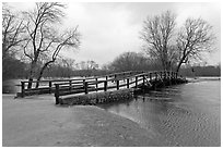 North Bridge over Concord River, Minute Man National Historical Park. Massachussets, USA ( black and white)
