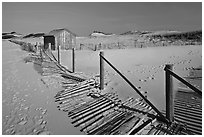 Fallen sand fence and footprints, Cape Cod National Seashore. Cape Cod, Massachussets, USA ( black and white)