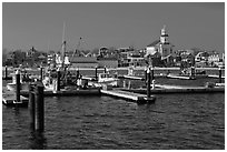 Harbor, beach, and town, Provincetown. Cape Cod, Massachussets, USA ( black and white)