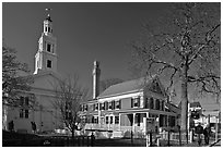 Church, Pilgrim Monument, and houses, Provincetown. Cape Cod, Massachussets, USA ( black and white)