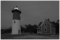 Nauset Light by night, Cape Cod National Seashore. Cape Cod, Massachussets, USA ( black and white)