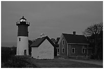 Nauset lighthouse at dawn, Cape Cod National Seashore. Cape Cod, Massachussets, USA ( black and white)