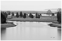 Salt Pond and boathouse, Sandwich. Cape Cod, Massachussets, USA ( black and white)