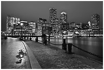 Wharf and skyline by night. Boston, Massachussets, USA (black and white)