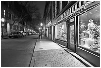 Flower shop by night, Beacon Hill. Boston, Massachussets, USA ( black and white)