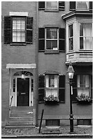 Brick residential houses, Beacon Hill. Boston, Massachussets, USA ( black and white)