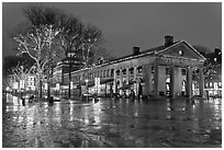 Lights and reflections at night, Quincy Market. Boston, Massachussets, USA (black and white)