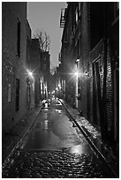 Dark alley on rainy night, Beacon Hill. Boston, Massachussets, USA ( black and white)
