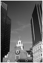 Old State House and Financial District skyscrapers. Boston, Massachussets, USA (black and white)