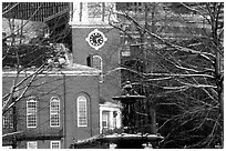 Historic church and snow covered branches. Boston, Massachussets, USA ( black and white)