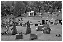 Cemetery in autumn, Greenville. Maine, USA ( black and white)