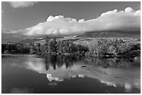 Mountain range and trees reflected in Penobscot River. Baxter State Park, Maine, USA (black and white)