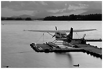 Floatplane at dusk, Ambajejus Lake. Maine, USA ( black and white)