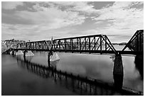 Railroad bridge over Penobscot River. Bangor, Maine, USA (black and white)