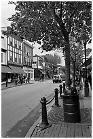 Main street. Bar Harbor, Maine, USA ( black and white)