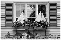 Window with flower pots shaped like sailboats. Bar Harbor, Maine, USA ( black and white)