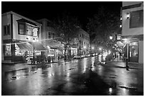 Street corner on rainy night. Bar Harbor, Maine, USA ( black and white)