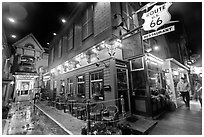 Route 66 restaurant at night. Bar Harbor, Maine, USA ( black and white)