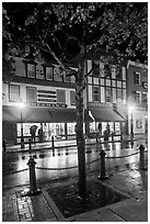 Sherman's bookstore, oldest in Maine, at night. Bar Harbor, Maine, USA ( black and white)