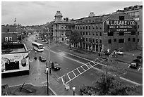 Street seen from above, dawn. Portland, Maine, USA (black and white)