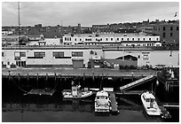 Boats and piers. Portland, Maine, USA ( black and white)