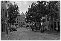 Street with cobblestone pavement. Portland, Maine, USA ( black and white)