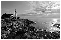 Portland Head Light on shores of Fort Williams Park. Portland, Maine, USA ( black and white)