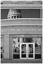 Capitol reflected in Burton Cross Building. Augusta, Maine, USA (black and white)