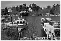 Lobster traps and boat. Corea, Maine, USA ( black and white)