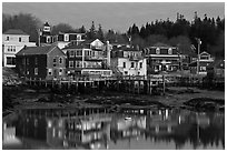 Main village waterfont at dawn. Stonington, Maine, USA (black and white)