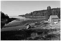 Schacks and inlet. Isle Au Haut, Maine, USA (black and white)