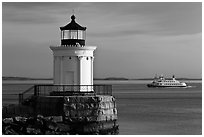 Bug Light and ferry. Portland, Maine, USA ( black and white)