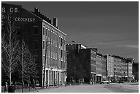 Historic brick buildings near waterfront. Portland, Maine, USA ( black and white)