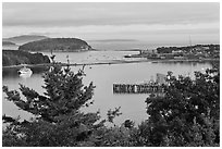 Bar Island and Frenchman bay. Bar Harbor, Maine, USA ( black and white)