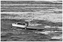 Fishermen on lobster boat. Bar Harbor, Maine, USA ( black and white)