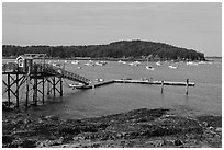 Harbor and Bar Island. Bar Harbor, Maine, USA ( black and white)