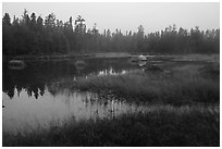 Desey Pond, dusk. Katahdin Woods and Waters National Monument, Maine, USA ( black and white)