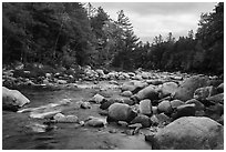 Wassatotaquoik Stream flowing past boulders. Katahdin Woods and Waters National Monument, Maine, USA ( black and white)