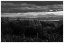 Millinocket Lake from Overlook, evening. Katahdin Woods and Waters National Monument, Maine, USA ( black and white)
