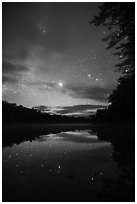 East Branch Penobscot River from Lunksoos Camp with stary sky. Katahdin Woods and Waters National Monument, Maine, USA ( black and white)