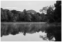 Desey Mountain reflected in East Branch Penobscot River. Katahdin Woods and Waters National Monument, Maine, USA ( black and white)