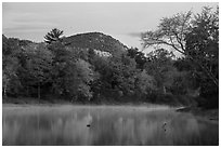 East Branch Penobscot River and Desey Mountain at dawn in autumn. Katahdin Woods and Waters National Monument, Maine, USA ( black and white)