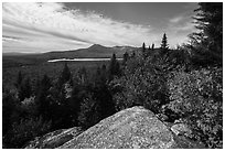 Baxter State Park from from Barnard Mountain in autumn. Katahdin Woods and Waters National Monument, Maine, USA ( black and white)