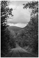 Road and mountain in autumn. Katahdin Woods and Waters National Monument, Maine, USA ( black and white)