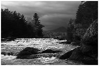 Bald Mountain and Haskell Rock Pitch under stormy skies. Katahdin Woods and Waters National Monument, Maine, USA ( black and white)