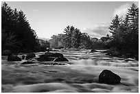 Haskell Rock Pitch and trees in autumn foliage, East Branch Penobscot River. Katahdin Woods and Waters National Monument, Maine, USA ( black and white)
