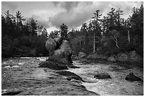 Haskell Rock. Katahdin Woods and Waters National Monument, Maine, USA ( black and white)