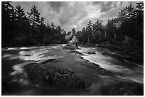 East Branch Penobscot River rapids and Haskell Rock. Katahdin Woods and Waters National Monument, Maine, USA ( black and white)